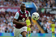 Jordan Ayew of Aston Villa in action. EFL Skybet championship match, Aston Villa v Rotherham Utd at Villa Park in Birmingham, The Midlands on Saturday 13th August 2016.<br /> pic by Andrew Orchard, Andrew Orchard sports photography.