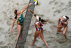 Madelein Meppelink, Anouk Verge Depre SUI, Jorna Heidrich SUI in action during the third day of the beach volleyball event King of the Court at Jaarbeursplein on September 11, 2020 in Utrecht.