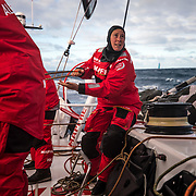 Leg 4, Melbourne to Hong Kong, day 02 on board MAPFRE, Tamara Echegoyen During a gybe with akzonobel in the background. Photo by Ugo Fonolla/Volvo Ocean Race. 02 January, 2018.