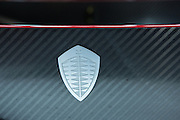 """New York, NY, USA-23 March 2016. The company logo on a Koenigsegg Regera. The model, a hybrid luxury """"megacar"""" which retails for US $2m, will be limited to 80 examples worldwide."""