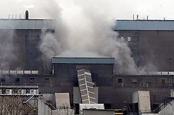 © Licensed to London News Pictures. 27/02/2012.Tilbury Power Station Fire..A huge blaze has broken out at a power station in Essex, in areas containing about 4,000 tonnes of wood pellets.The  blaze at Tilbury Power Station in the Thames estuary began just before 08:00 today (27.02.2012) and quickly engulfed the building in smoke..Photo credit : Grant Falvey/LNP