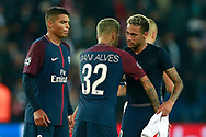 Paris Saint Germain's Brazilian defender Dani Alves embraces Paris Saint Germain's Brazilian forward Neymar Jr during the UEFA Champions League, Group B football match between Paris Saint-Germain and Bayern Munich on September 27, 2017 at the Parc des Princes stadium in Paris, France - Photo Benjamin Cremel / ProSportsImages / DPPI