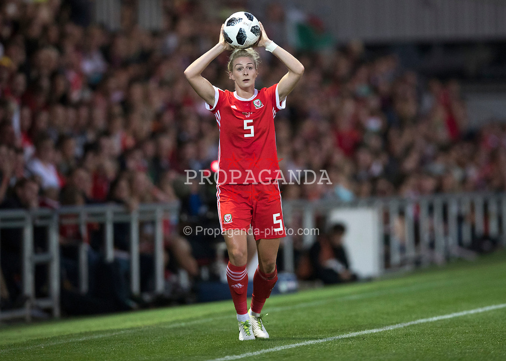 NEWPORT, WALES - Thursday, August 30, 2018: Wales' Rhiannon Roberts in action during the FIFA Women's World Cup 2019 Qualifying Round Group 1 match between Wales and England at Rodney Parade. (Pic by Laura Malkin/Propaganda)