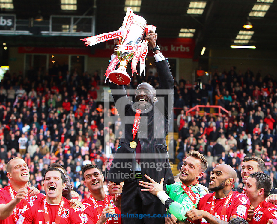 Picture by John Rainford/Focus Images Ltd. 07506 538356.05/05/12.Chris Powell of Charlton Athletic and his players with the Npower League 1 trophy at The Valley stadium, London.