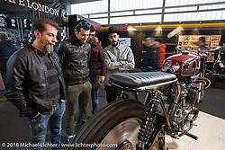 Custom Husqvarna street tracker on display at the Motor Bike Expo. Verona, Italy. January 22, 2016.  Photography ©2016 Michael Lichter.
