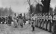 World War I 1914-1918: Visit of Charles I of Austria to the German Army Headquarters, 1917.  Charles accompanied by Wilhelm II inspect the guard of honour.