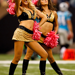 October 3, 2010; New Orleans, LA, USA; New Orleans Saints Saintsations cheerleaders perform during a game between the New Orleans Saints and the Carolina Panthers at the Louisiana Superdome. The Saints defeated the Panthers 16-14. Mandatory Credit: Derick E. Hingle