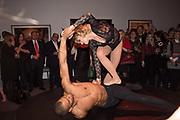 DANCERS: KLODI DABKIEWICZ; LEON FAGBEMI, Sotheby's Erotic sale cocktail party, Sothebys. London. 14 February 2018