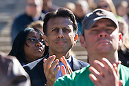 Louisiana Gov. Bobby Jindal in the audince at an anti abortion rally in Baton Rouge before giving the keynote speach. Later in the day he also gave the keynote speack  at 'The Response', Both event on the campus of LSU in Baton Rouge.