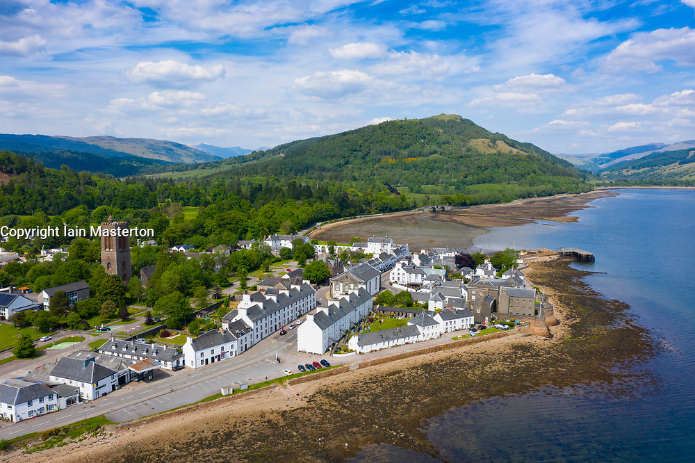 Aerial view of Inveraray town beside Loch Fyne in Argyll and Bute, Scotland, UK
