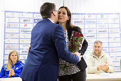 Roman Dobnikar, president of AZS and Marija Sestak at press conference of Athletic association Slovenia before IAAF World Indoor Championship Birmingham 2018, on February 22, 2017 in Ljubljana, Slovenia. Photo by Urban Urbanc / Sportida
