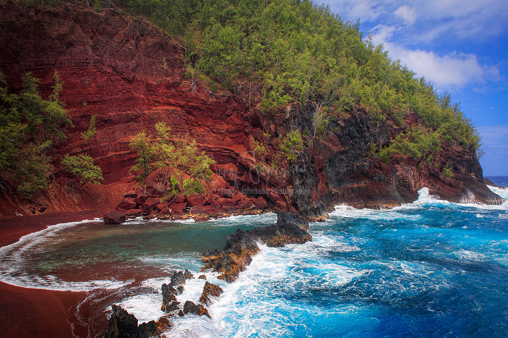"""Red sand beach in Hana, Maui, Hawaii<br /> ..... <br /> The island of Maui is the second-largest of the Hawaiian Islands and is the 17th largest island in the United States. Maui is part of the State of Hawaii and is the largest of Maui County's four islands, bigger than Molokaʻi, Lānaʻi, and unpopulated Kahoʻolawe. Wailuku is the seat of Maui County and is the third-largest CDP as of 2010. Other significant places include Kīhei (including Wailea and Makena in the Kihei Town CDP, which is the second-most-populated CDP in Maui); Lahaina (including Kāʻanapali and Kapalua in the Lahaina Town CDP); Makawao; Pāʻia; Kula; Haʻikū; and Hāna. Native Hawaiian tradition gives the origin of the island's name in the legend of Hawaiʻiloa, the navigator credited with discovery of the Hawaiian Islands. According to that legend, Hawaiʻiloa named the island of Maui after his son, who in turn was named for the demigod Māui. The earlier name of Maui was ʻIhikapalaumaewa. The Island of Maui is also called the """"Valley Isle"""" for the large isthmus between its northwestern and southeastern volcanoes and the numerous large valleys carved into both mountains."""