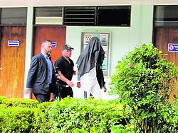 """October 5, 2018 - (05102018) Marcel Hernández fue arrestado y luego llevado a los tribunales de Cartago. El futbolista llegó este año al cuadro brumoso. PROHIBIDO EL USO O REPRODUCCIÃ""""N EN COSTA RICA. (Credit Image: © La Nacion via ZUMA Press)"""