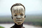 Africa, Ethiopia, Omo Valley, Young Karo tribesman warrior