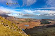 Looking toward Brandon Bay from Conor Pass near Dingle, Ireland
