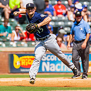 Aug 01 2019, Arlington, TX  U.S.A.  Seattle third baseman Kyle Seager (15) makes a  infield play during the MLB game between the Seattle Mariners and the Texas Rangers 11-3 win at Globe Life Park in Arlington,TX. Thurman James / CSM