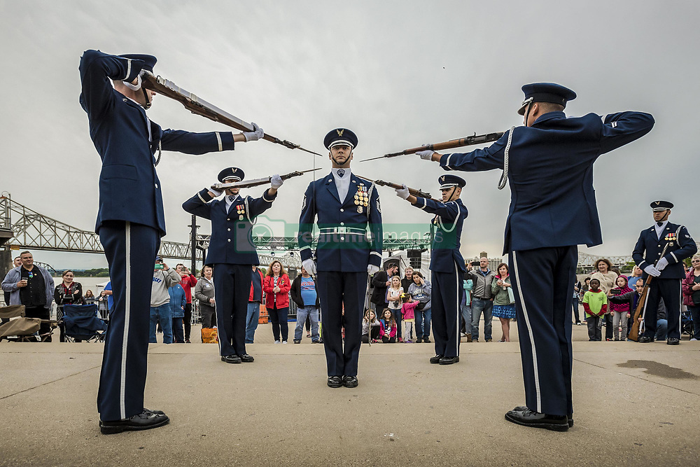 May 3, 2017 - Louisville, Kentucky, United States - Point Precision. U.S. Air Force Honor Guard members execute a precision rifle drill at Waterfront Park in downtown Louisville, Ky., May 3, 2017, as part of the Kentucky Derby Festival. Air National Guard photo by Lt. Col. Dale Greer. (Credit Image: ? Dale Greer/National Guard/DoD via ZUMA Wire/ZUMAPRESS.com)