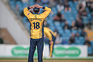 Michael Richardson (Durham CCC) puts his hand on his head as another chance for a catch to take a wicket is dropped during the Royal London 1 Day Cup match between Yorkshire County Cricket Club and Durham County Cricket Club at Headingley Stadium, Headingley, United Kingdom on 3 May 2017. Photo by Mark P Doherty.