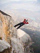 Tim Emmett BASE-jumping from Monte Brento, Italy