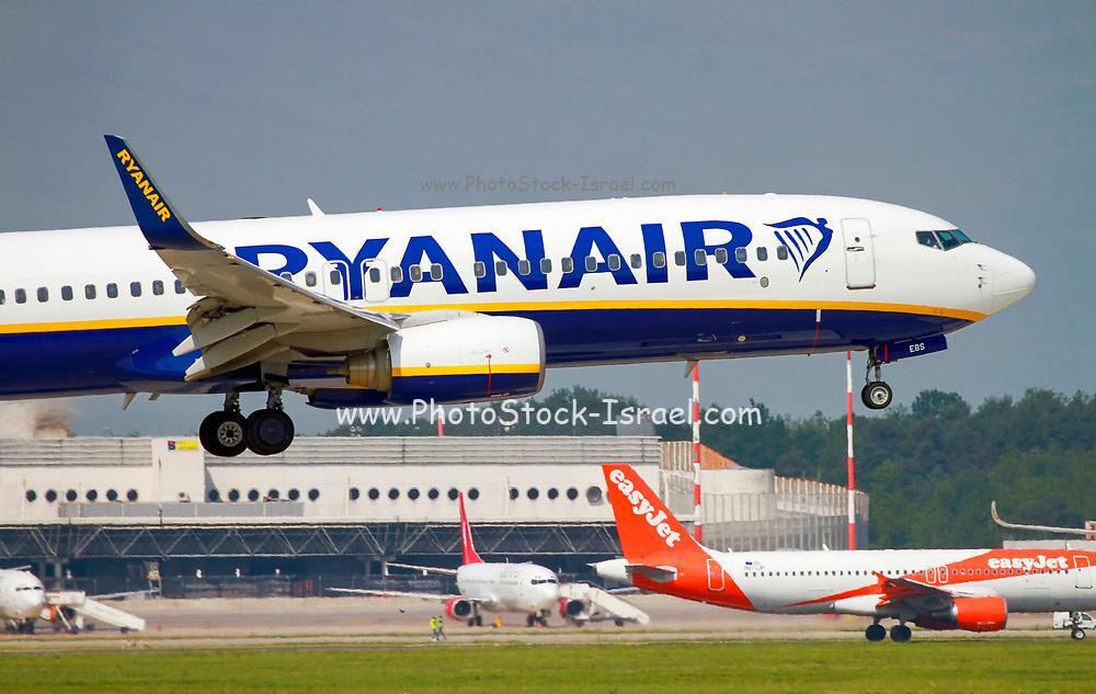 Close up Ryanair Boeing 737-800 Next Gen, landing at Malpensa (MXP / LIMC), Milan, Italy