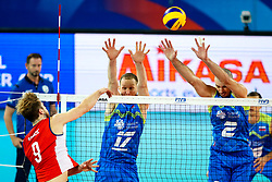 Dusan Bonacic of Chile vs Tine Urnaut of Slovenia and Alen Pajenk of Slovenia during volleyball match between Slovenia and Chile in Group A of FIVB Volleyball Challenger Cup Men, on July 3, 2019 in Arena Stozice, Ljubljana, Slovenia. Photo by Matic Klansek Velej / Sportida