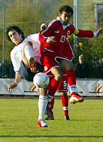 Fotball, Landslaget U-18, Flekkefjord, 26/04-2005,<br />Norge - Sveits 3-2,<br />Armin Ydsefi - Heinz Barnettler,<br />Foto: Sigbjørn Andreas Hofsmo, Digitalsport