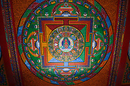Ceiling painting in the Tibetan Lamaistic Buddhist Songtsam Monastery, Shangri-La or Xianggelila,  Zhongdian County, Yunnan, China