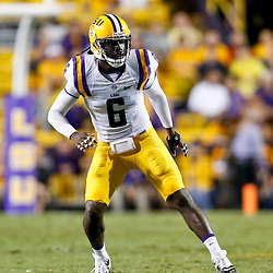 Sep 21, 2013; Baton Rouge, LA, USA; LSU Tigers safety Craig Loston (6) against the Auburn Tigers during the second half of a game at Tiger Stadium. LSU defeated Auburn 35-21. Mandatory Credit: Derick E. Hingle-USA TODAY Sports