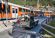 In Zermatt near the entrance to Sunnegga Express funicular, see the Matterhorn and Gornergrat Railway bridge over the Matter Vispa (a river tributary of the Rhone), in the Pennine Alps, Switzerland, Europe.
