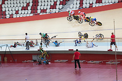 JAKARTA, Jan. 11, 2019  Cyclists crash during the Omnium Men Elite Point Race of 39th Asian Track Championships in Jakarta , Indonesia, Jan. 11, 2019. (Credit Image: © Veri Sanovri/Xinhua via ZUMA Wire)
