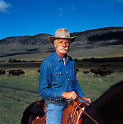 Ted Turner on his Montana buffalo ranch.  The media mogul is the largest landowner in the United States outside of the government.<br /> .