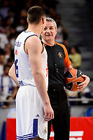 Real Madrid's Jonas Maciulis talking with referee Luigi Lamonica duringTurkish Airlines Euroleague match between Real Madrid and FC Barcelona Lassa at Wizink Center in Madrid, Spain. March 22, 2017. (ALTERPHOTOS/BorjaB.Hojas)