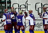 Ishockey Hockey<br /> Getligaen<br /> Jordal Amfi 09.10.11<br /> Vålerenga VIF - Lillehammer<br /> Canadarekka til VIf feirer scoring , FV Blake Evans , målscorer Shay Stephenson , Justin Donato , Patrick Coulombe og Logan Stephenson<br /> Foto: Eirik Førde