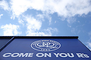 New QPR Crest outside Loftus Road before k/o. Skybet EFL championship match, Queens Park Rangers v Leeds United at Loftus Road Stadium in London on Sunday 7th August 2016.<br /> pic by John Patrick Fletcher, Andrew Orchard sports photography.
