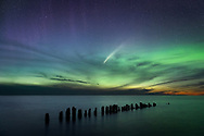 The Neowise Comet meets Aurora Borealis over Whitefish Point.