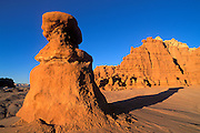 Evening light on eroded rock formations at Goblin Valley, Goblin Valley State Park, Utah