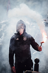 May 1, 2019 - Paris, France - Man holds a flare during Inter-union demonstration with yellow vests, clashes between black-blocks and law enforcement on May Day. (Credit Image: © Adrien Vautier/Le Pictorium Agency via ZUMA Press)