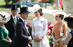 The Duchess of Cambridge with Prince Edward (left), Princess Anne (right) and Prince William during day one of Royal Ascot at Ascot Racecourse.