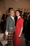 LADY MYNERS, VALERIA NAPOLEONE, Stefania Pramma launched her handbag brand PRAMMA  at the Kensington residence of her twin sister, art collector Valeria Napoleone.. London.  29 April 2015