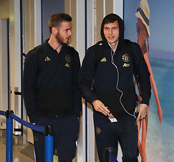 Victor Lindelof and David De Gea of Manchester United are spotted on their way to catch a flight as the team fly to Turin on Tuesday afternoon to play Juventus in The Champions League on Wednesday night.