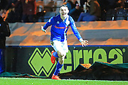 GOAL Ollie Rathbone celebrates his first senior goal for Rochdale 1-0  during the EFL Sky Bet League 1 match between Rochdale and Walsall at Spotland, Rochdale, England on 22 November 2016. Photo by Daniel Youngs.