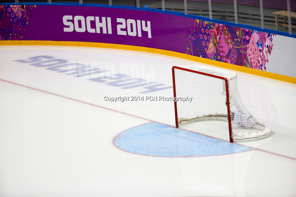 Empty goal during Sweden vs Slovenia game at the Olympic Winter Games, Sochi 2014