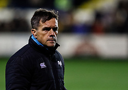 Head Coach Allan Clarke of Ospreys during the pre match warm up<br /> <br /> Photographer Simon King/Replay Images<br /> <br /> Guinness PRO14 Round 7 - Ospreys v Connacht - Friday 26th October 2018 - The Brewery Field - Bridgend<br /> <br /> World Copyright © Replay Images . All rights reserved. info@replayimages.co.uk - http://replayimages.co.uk