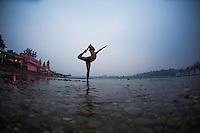 Raja Natarajasana at the Ganga, with Deep Deka
