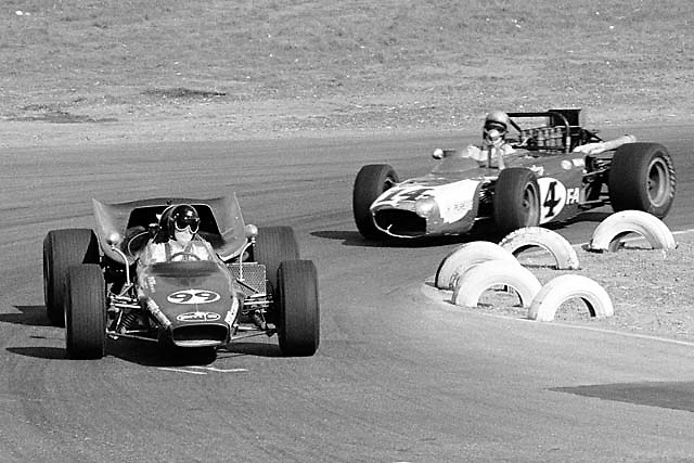 F5000 cars 99 & 14, Laguna Seca 1968