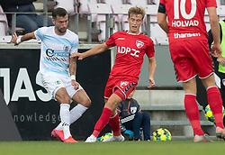 David Boysen (FC Helsingør) og Kristian Kirkegaard (FC Fredericia) under kampen i 1. Division mellem FC Fredericia og FC Helsingør den 4. oktober 2020 på Monjasa Park i Fredericia (Foto: Claus Birch).