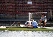 Henley-On-Thames, Berkshire, UK.,  3rd August 2020 Athletes, Crews boating from Leander Club for training,  [Mandatory Credit © Peter Spurrier/Intersport Images],  Coach watches, as the crew make adjustments, Mixed Double Scull, , Training during, the  coronavirus (COVID-19), pandemic,