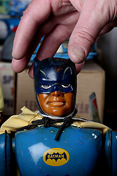 © London News Pictures. 13/03/2016. A 1960's Japanese made Batman robot estimated at £500 at Vectis Auction House in Thornaby, England March 13 2016. Around 1000 pieces from a North Yorkshire couple will go under the hammer on March 15. The collection was built over 40 years and includes pieces from 1939 to the mid 90's . Photo credit: Nigel Roddis/LNP