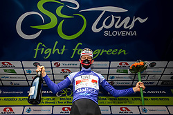 Overall best in mountain classificationTadej POGACAR of UAE TEAM EMIRATES celebrates at trophy ceremony during the 5th Stage of 27th Tour of Slovenia 2021 cycling race between Ljubljana and Novo mesto (175,3 km), on June 13, 2021 in Slovenia. Photo by Vid Ponikvar / Sportida