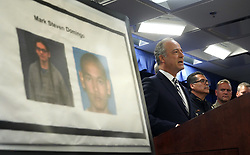 April 29, 2019 - Los Angeles, California, U.S. - United States Attorney Nick Hanna announces the arrest of Mark Steven Domingo during a press conference at the U.S. Attorney's office in Los Angeles on Monday, April 29, 2019. On Friday, FBI agents arrested Domingo, 26, of Reseda on federal charges in a terrorist plot to detonate a bomb at a Long Beach rally over the weekend. (Credit Image: © Scott Varley/SCNG via ZUMA Wire)